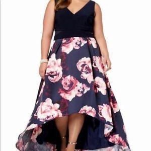 Navy Sleeveless Hi-Low Party Dress +With Pockets+